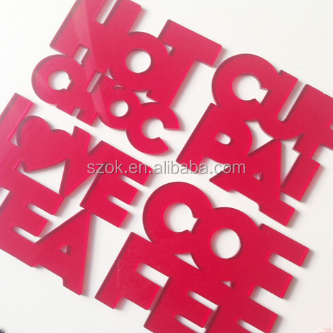 Red high craft good selling acrylic coasters for sale from china