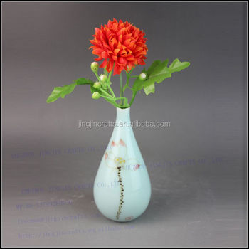 traditional China hand painted lotus flower mini stoneware vase antique