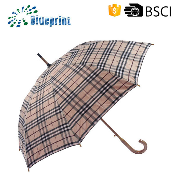 2015 Hot Sale Super strong windproof golf straight umbrella wood handle Sunny and Rainy Umbrella