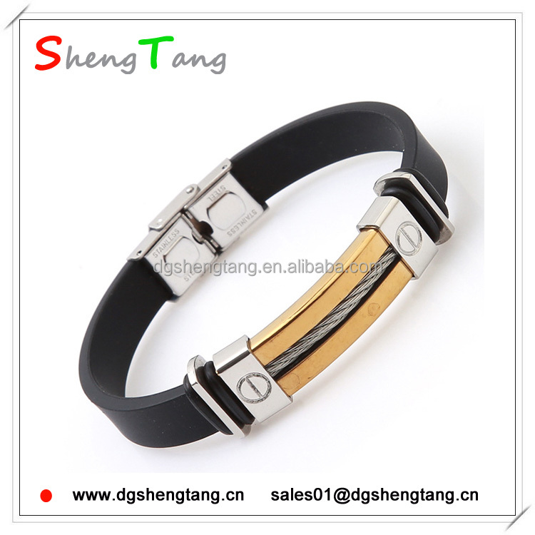 Unique Italian Style Mens Stainless Steel Silicone Bracelet