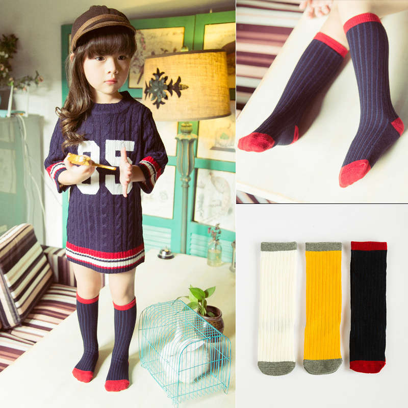HT-LGSS latest new design stripe high quality fashion baby knitted leg warmer stocking socks