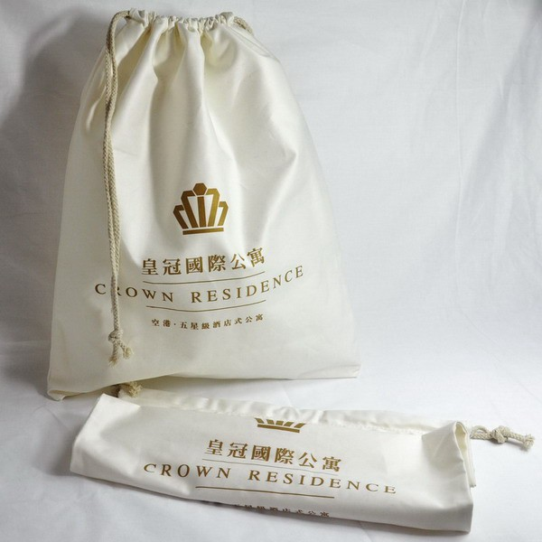 Eco-friendly disposable folding hanging Cotton Hotel Laundry Bag
