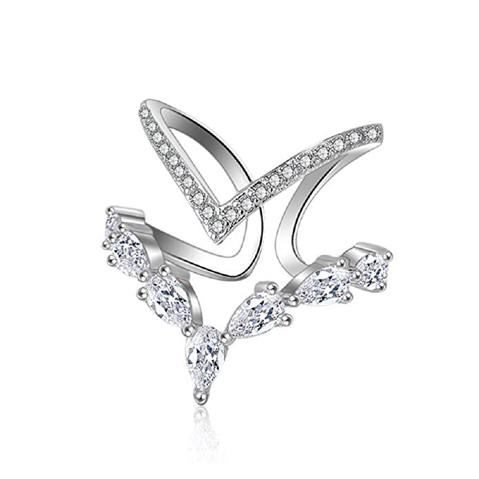 AAA cubic zirconia ring CZ V shape adjustable heart princess ring