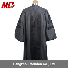 Customized Matte polyster Black academic Doctoral Graduation Gown/robe