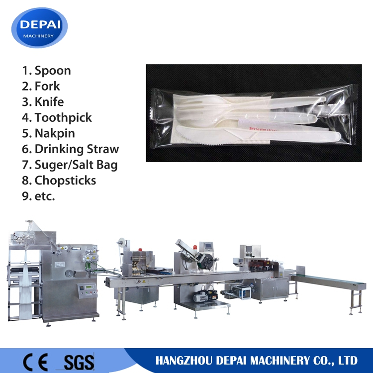 Automatic plastic spoon packing machine with napkin folding, toothpick packing