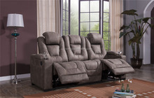 2017 3-Seat RecliningTheater Seating power recliner with storage armrest