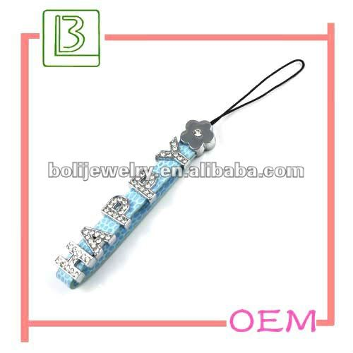fashion letters leather japanese cell phone charms