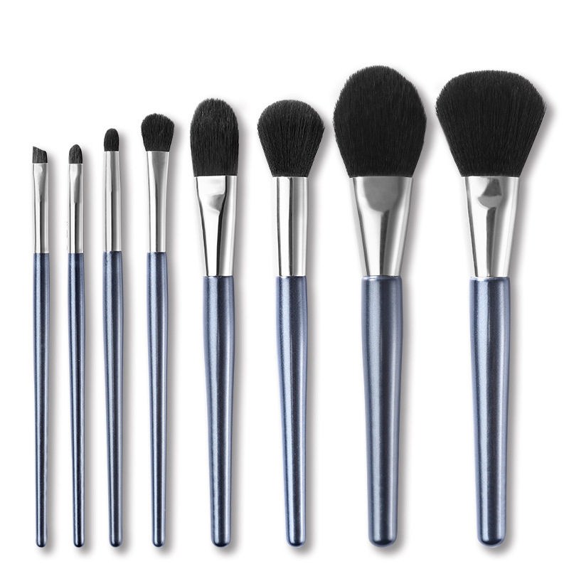 Makeup Brush Set Synthetic Kabuki Cosmetics Foundation Blending Blush Eyeliner Face Powder Brush Makeup Brush Kit(8pcs,Blue)