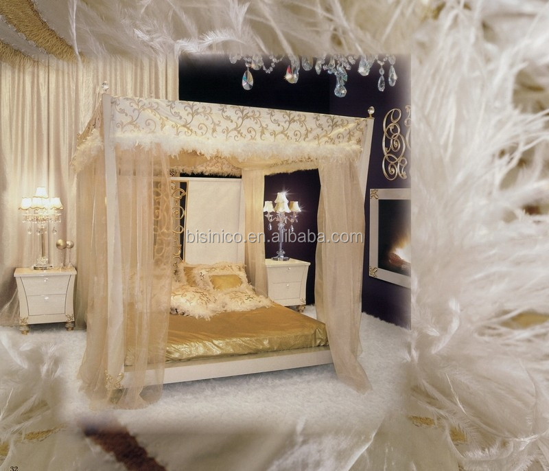 Antique Carved Flower and Leave Designed Leather Canopy Bed, Bisini Neoclassical Silver Foil Wooden Canopy Bed