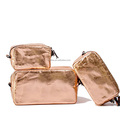 rose gold color washable kraft paper make up cosmetics bag with zipper