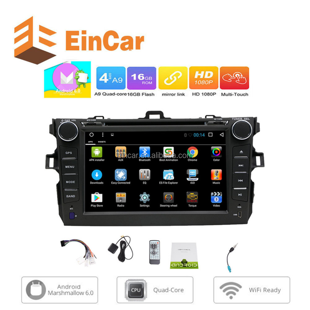 Android 6.0 Car Radio Stereo GPS for Toyata Corolla (2007-2013) Quad Core DVD Player Capacitive Touchscreen Mirror WiFi 1080P BT