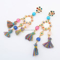 Bohemia style drop earring rainbow tassel bead earrings National style Vintage handmade crystal earring