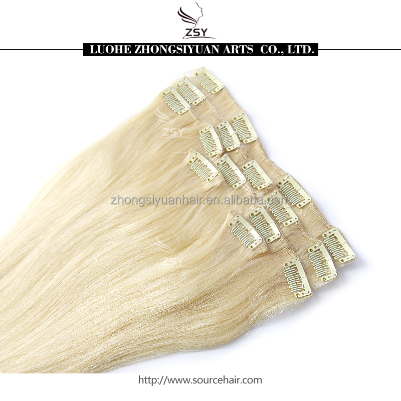 2017 ZSY unprocessed virgin remy <strong>quad</strong> weft clip in hair extension russian hair