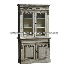 Heavy Carved Classic Bookcase with Glass Doors