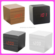 Wooden desk led digital alarm clock