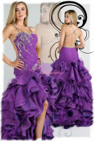 2013 fashion purple short front long back prom dress