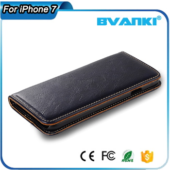 For iPhone 7 Plus Wallet Case, Genuine Leather Flip Case Cover Magnetic Stand Function with Card Slots/Cash Compartmen