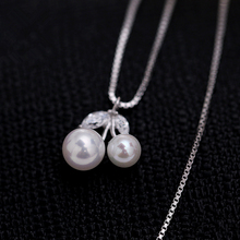 Cherry Shaped Pearl Jewelry Silver Color Jewelry Wholesale, White Rhodium Plated Pearl Necklace