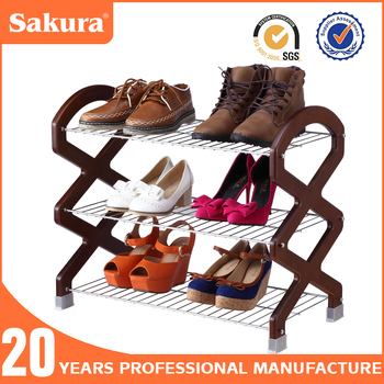 3tier/4tier chrome plated wooden SHOES RACK,Wire shoes rack