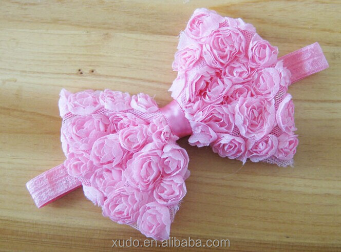 12 colors in stock children hair accessories 12cm large chiffon shabby bows baby headband