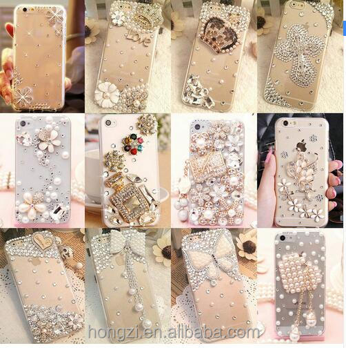phone case Bling Diamond for iPhone 6 7 plus For Samsung Note 5 S6 S7 edge S8 Plus Phone Clear Crystal Cover Crown Flower