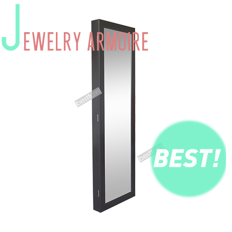 Black European Style Floor Mirrored Wooden Standing Wall Mounted Storage Key jewelry Cabinet