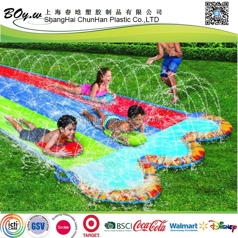 Gold manufacturer OEM testing grassland racing games play kids toys inflatable triple water slide for sales