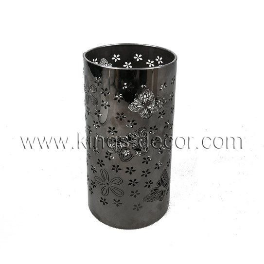 Cylinder cutout metal tealight candle holder