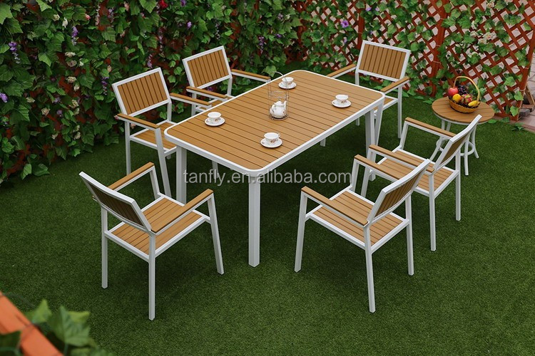 Garden Outdoor Furniture 6 seaters dining table and chairs aluminum patio set with wood