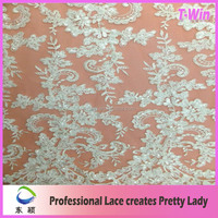 2015 Best selling Dentelle embroidery Wedding Beaded Lace Fabric with heavy handwork beads and cords