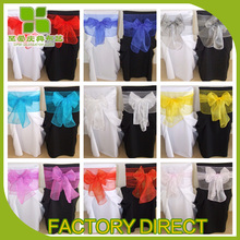 fancy wedding crystal chair sashes organza sash bow