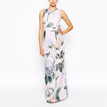 New model dress round neckline digital floral print maxi evening dress