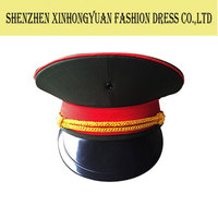 custom high quality flat top military officer caps/performance hat