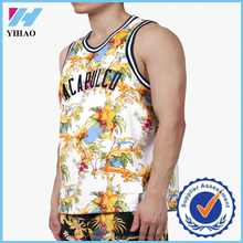 Yihao Custom All Over Sublimation Colorful printed basketball jersey Gym Clothing Wholesale