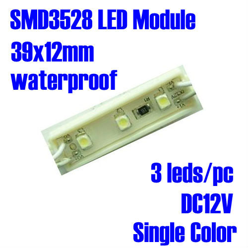 DC12V Waterproof IP65, Single Color Optional, 0.24W, 3 leds/pc SMD3528 LED Module