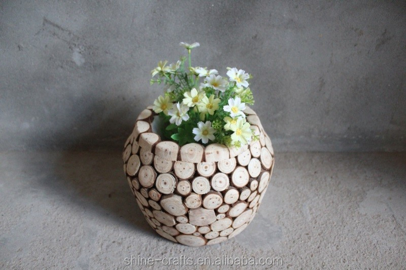 Decorative Wood Ornaments Vintage Home Decor wood flower pot customized mind body and soul