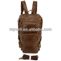 Design Brown genuine crazy horse skin leather fashion & vintage leather backpack unisex travel easy wholesale China