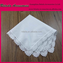 Wholesale white embroidered lace handkerchiefs , ladies hanky for cusotm-made name gifts