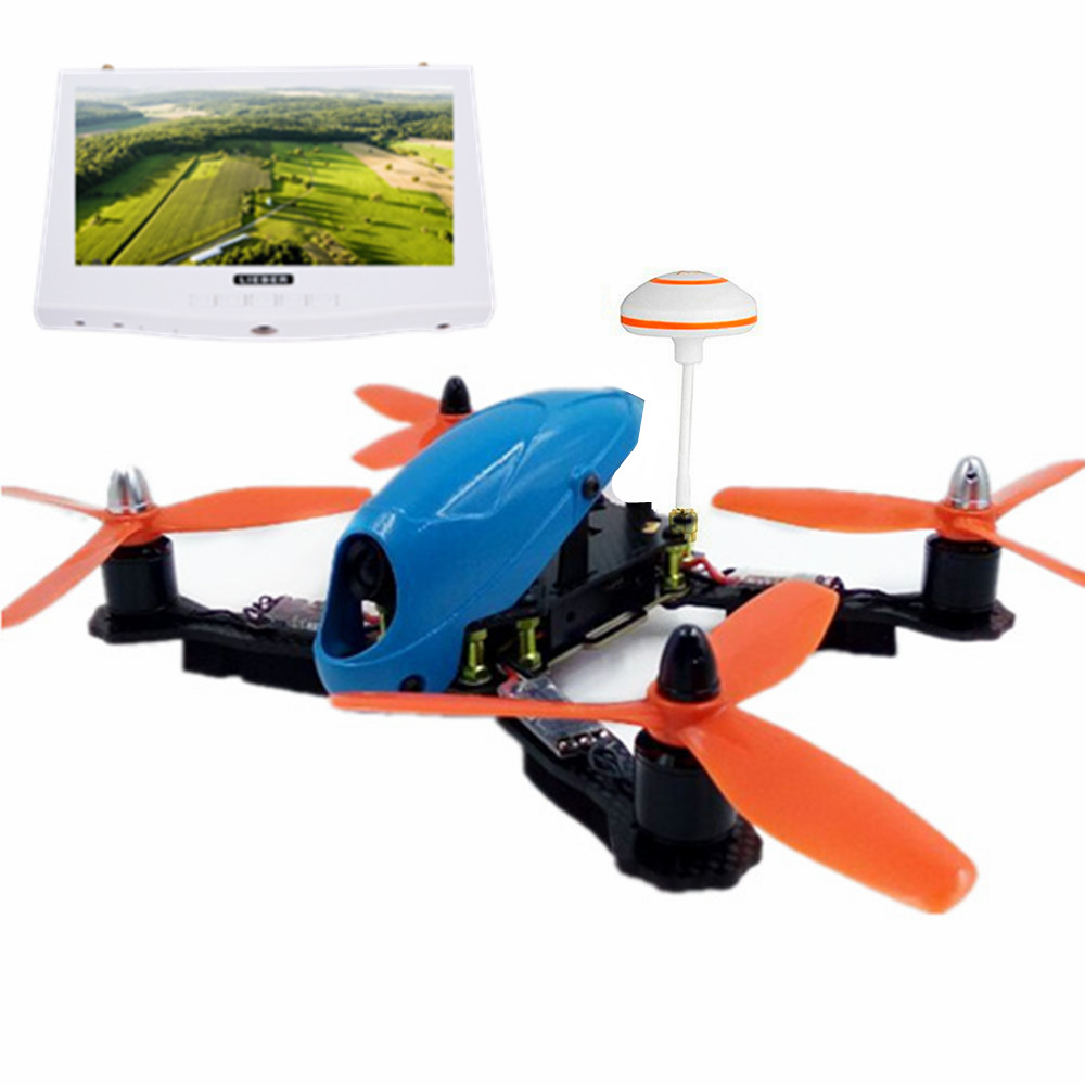 A6 LIEBER Hawk 210mm FPV Racing Drone <strong>Mini</strong> Blue with Mushroom Transmitter Antenna & White HD FPV Monitor