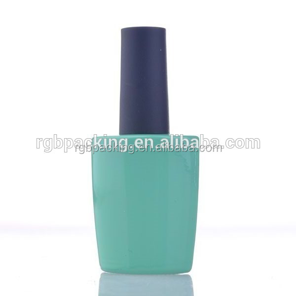 Wholesale Unique Shaped Blue Coated Glass Packing 10ml gel nail container with black cap