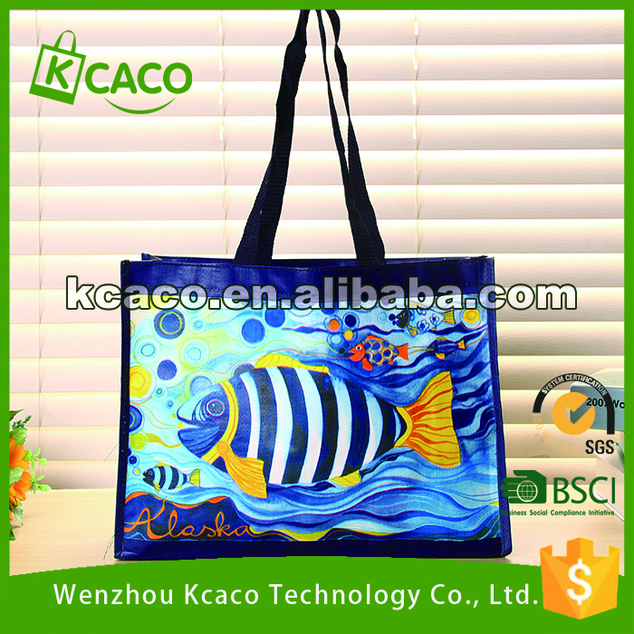 Dark BLUE large laminated fish gift Non woven shopping tote bag
