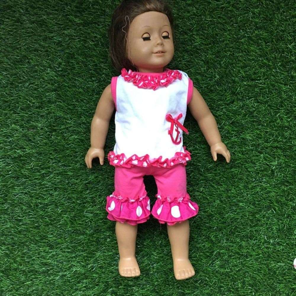 2 pieces summer clothes America doll outfits hot pink anchor doll clothes