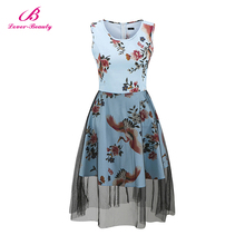 Fast Shipping Blue Print Mini Latest Designs Designer One Piece Women'S Fashion Dresses