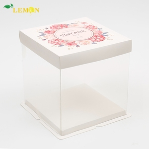 Newest Promotional Beautiful Custom Clear Plastic Birthday Cake Box