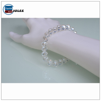 Clear White Crystal Rondelle Beads Bracelet