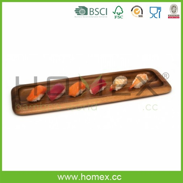 Acacia Wood Sushi Tray/Long Shape Wood Sushi Plate/Homex_FSC/BSCI Factory