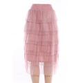 OEM factory women latest tulle mesh maxi skirts high waist 6 layers long tutu skirt
