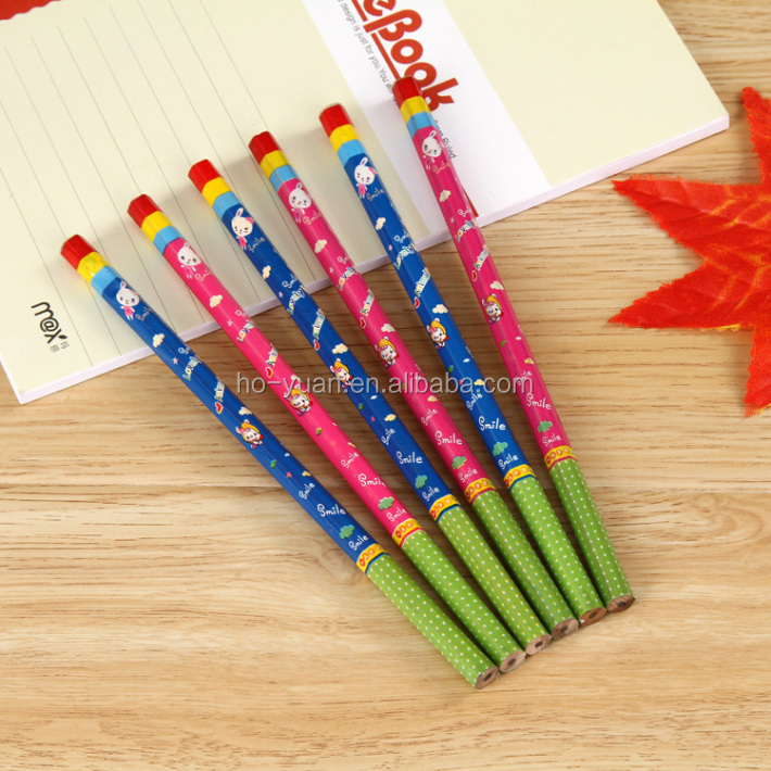 Cute animal printed 2B pencil custom wood write pencil for promotional