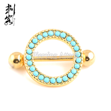 Gold Anodized Circle Nipple Ring with Turquoise Stone Nipple Stretching Piercing
