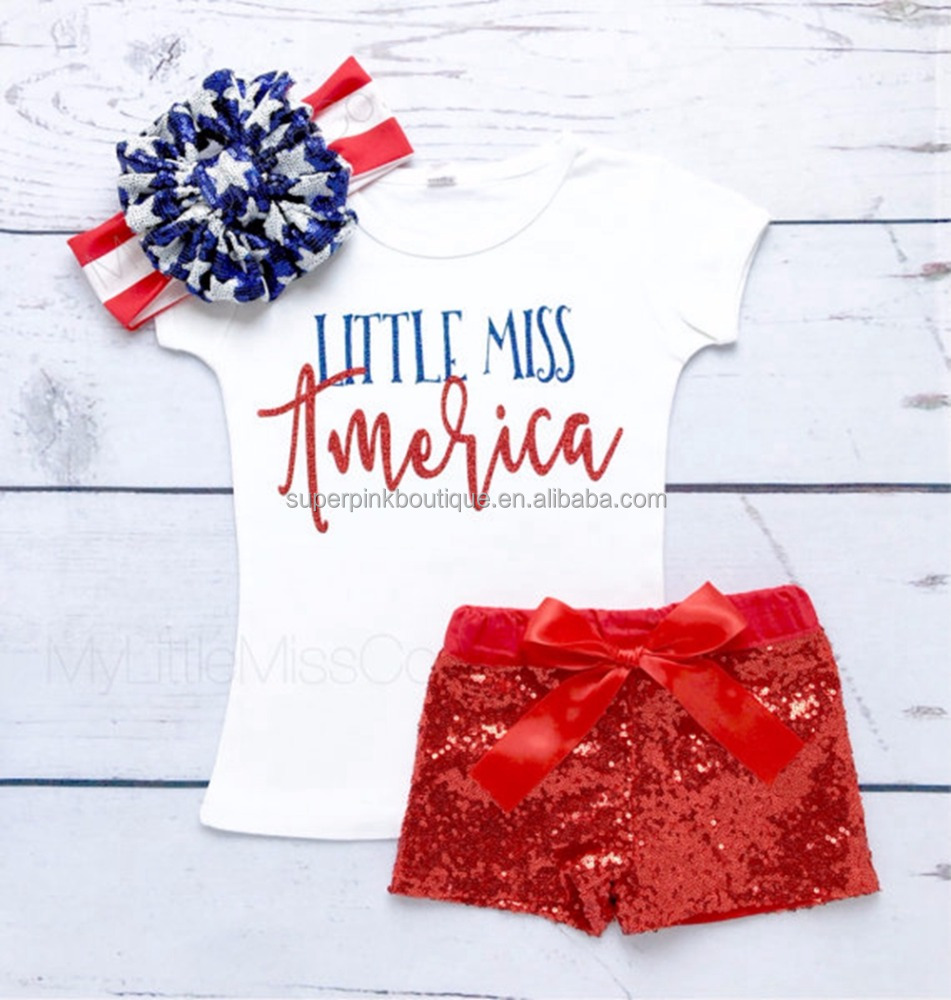 Little Miss America Red Sparkly Shorts Set Baby Girl 4th of july Outfit